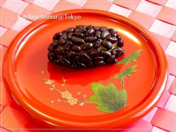 琉球漆器の小皿に沖縄風おはぎ「ふちゃぎ」