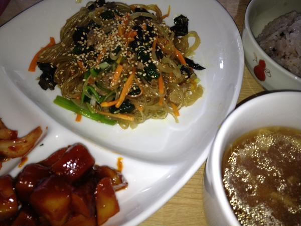 チャプチェ、さつまいもコチュジャン煮つけ、韓国式玉子スープ
