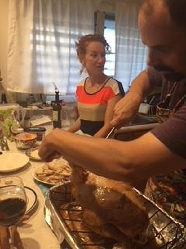 ハワイ大学勤務の友人宅でターキー丸焼きを教えていただきました