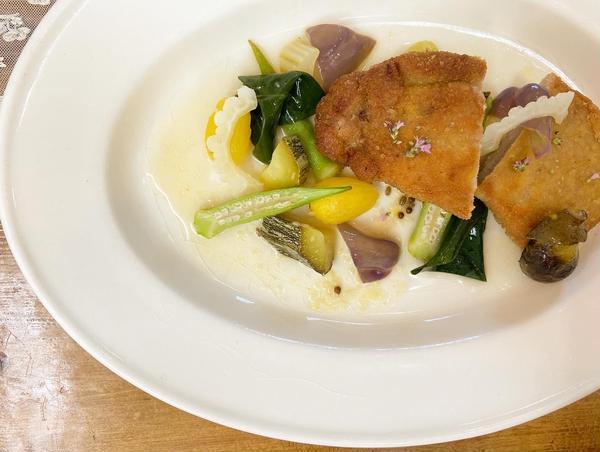 豚フィレ肉のコートレットと夏野菜のアラグレック