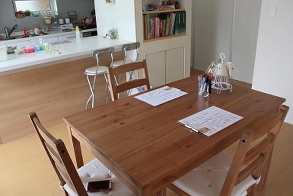 手前のテーブルでメモ、試食、奥の作業台でパンをこねます