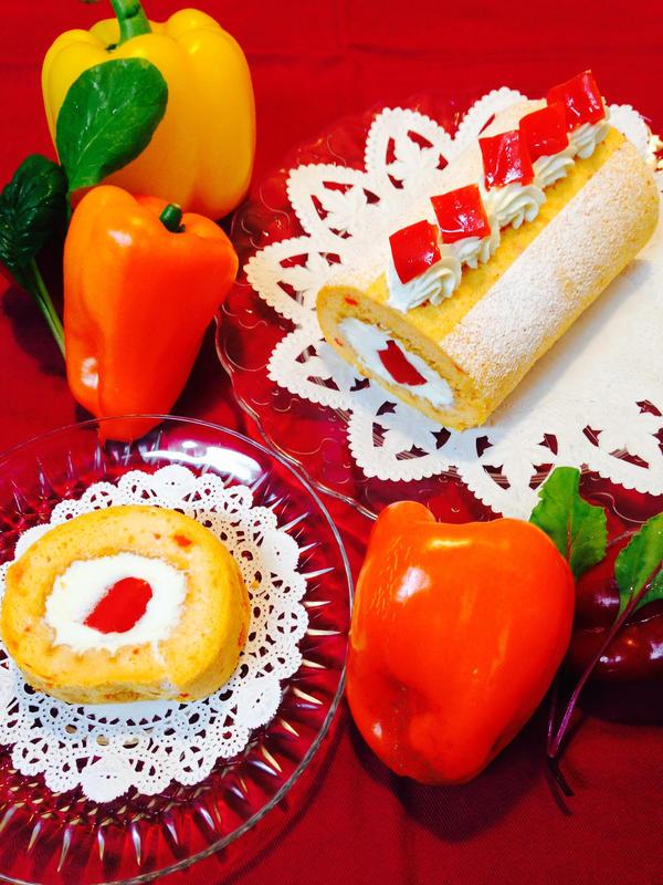 パプリカのロールケーキ(野菜を使ったスイーツ)