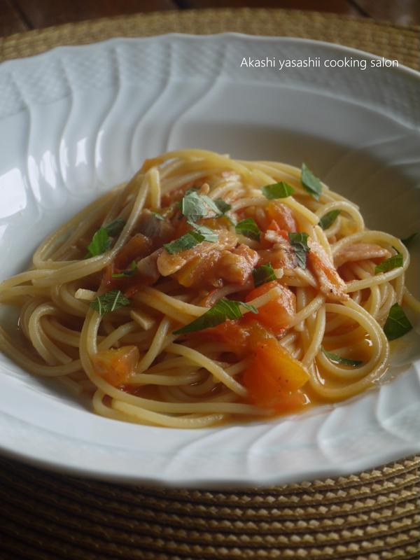 8月レッスンで作ります、トマトとベーコンのパスタ 大葉風味
