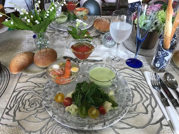 *季節の野菜のゼリー寄せ *季節の野菜のサラダ