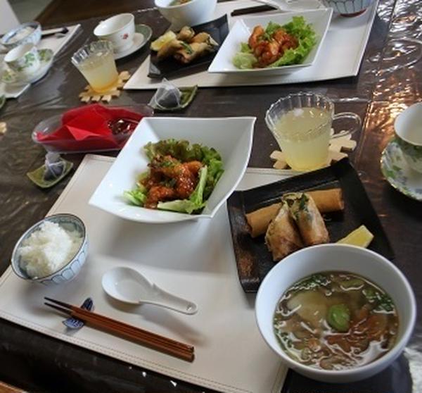 5月基本コース(エビチリ、春巻き、中華スープ)
