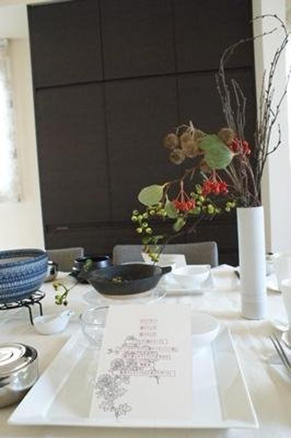 秋の韓国料理の会テーブルコーディネート