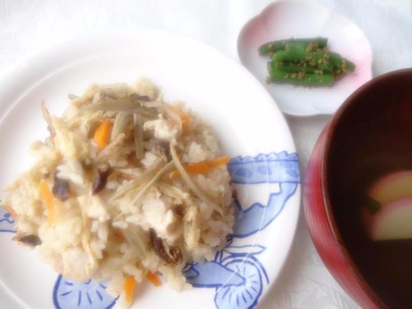 1月2回目:炊き込みご飯・すまし汁・いんげんの胡麻和え