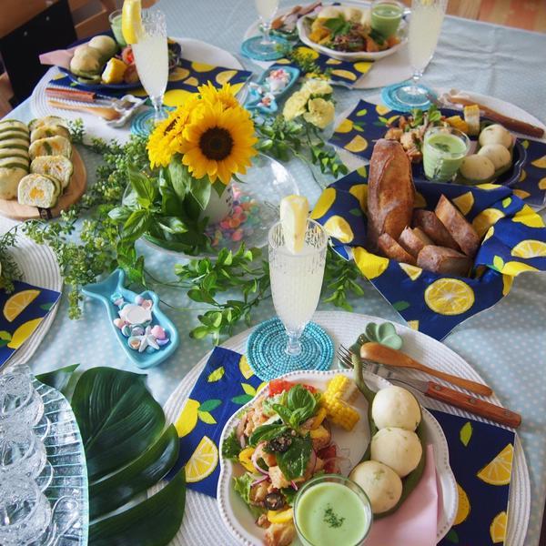 夏の特別レッスン 枝豆パンとシマシマ枝豆チーズのテーブル