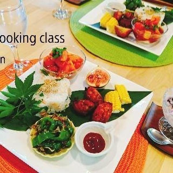 秋の和食 鮭寿司とつくね トマトの酢物 ピーマンのおかか和え