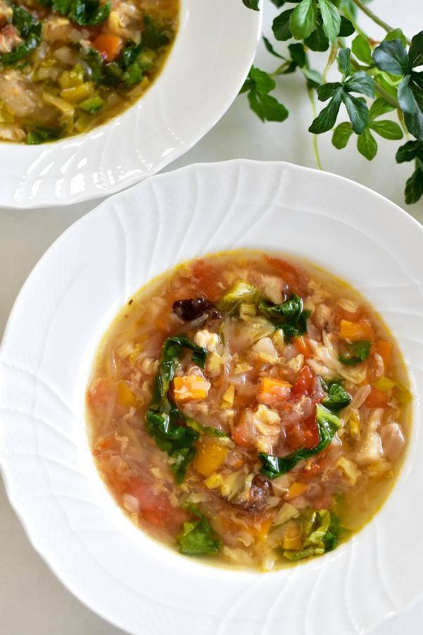 野菜の旨みたっぷりミネストローネ。調味料は塩のみで十分。