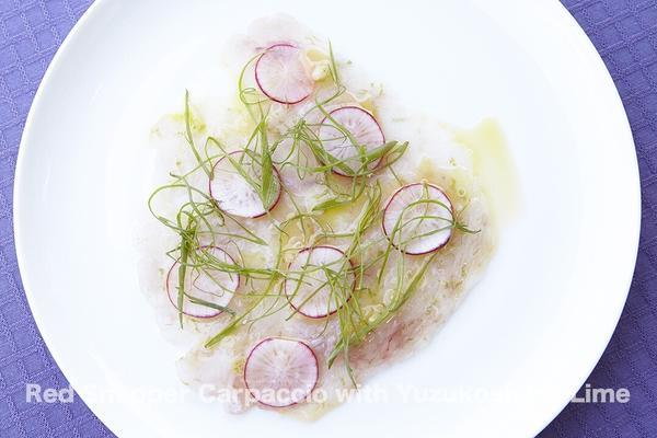 鯛のカルパッチョ、柚子胡椒ライム仕立て