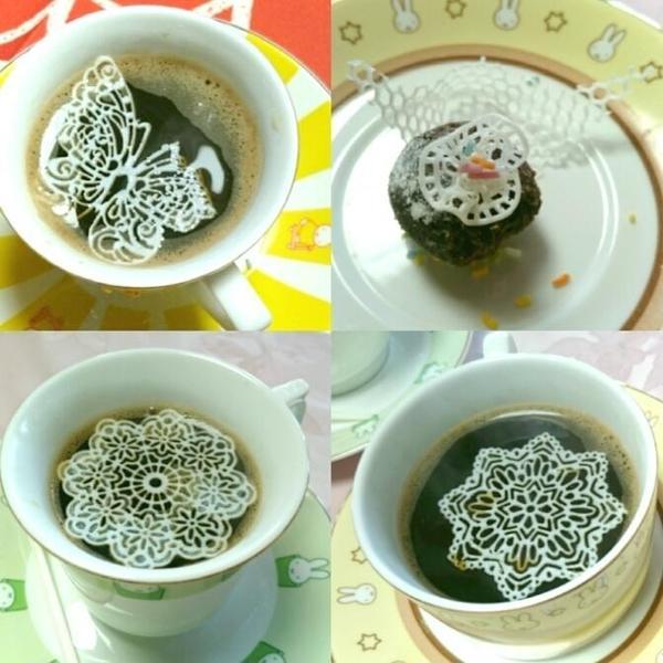 シュガーレースレッスン後早速お茶に浮かべてみました。