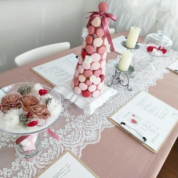 バレンタインレッスンのテーブルコーディネートです。