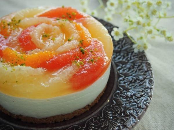 爽やか柑橘のレアチーズケーキ