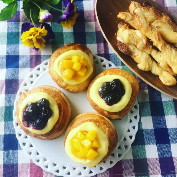 夏向きの爽やかな甘さの簡単デニッシュパン&チーズスティック