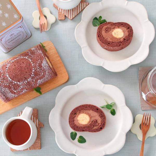 チョコバナナロールケーキのレッスン。ラム酒の効いた大人味^^