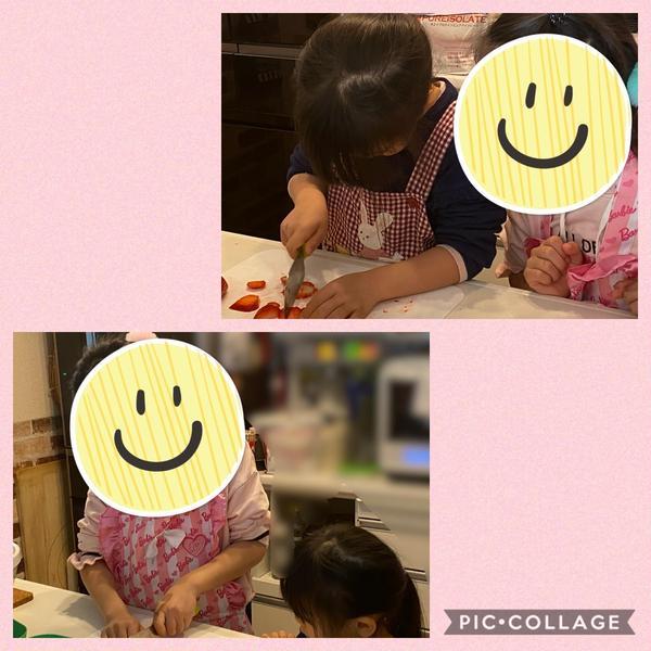 ママと姉妹ちゃんでチョコレートケーキを作りに来てくれました♪