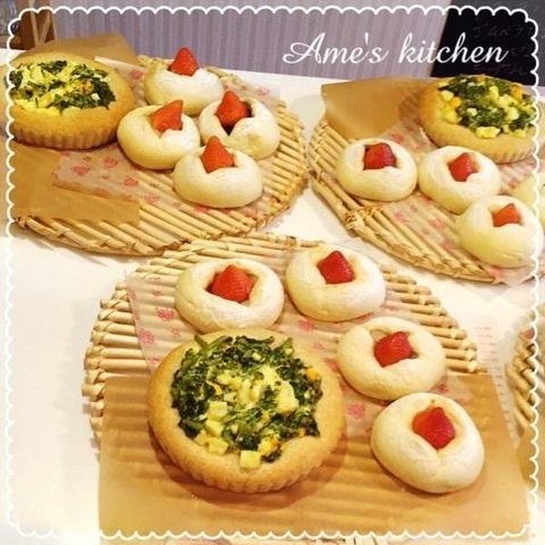 春の単発♪菜の花ランチパン。いちごあんパン。
