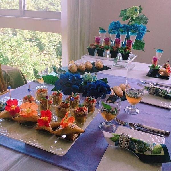 紫陽花の季節のフィンガーフードレイアウト