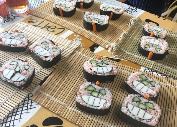 ハロウィンには、ジャックオランタンの飾り巻き寿司