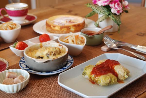 おからパウダー使って白菜料理。イチゴのスフレはお雛祭りに!