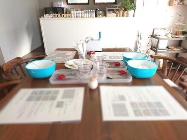 レッスン前のテーブルの上はこんな感じです。