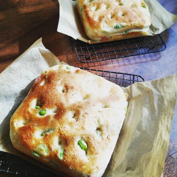 3月 枝豆とベーコンのチーズフォカッチャ