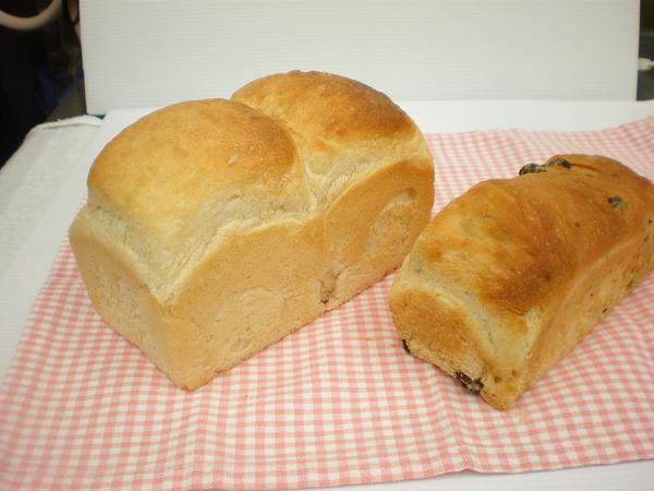 天然酵母食パンとミニレーズン食パン