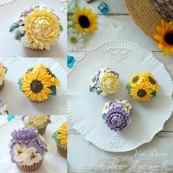 お花を絞ってデコレーションするフラワーカップケーキ