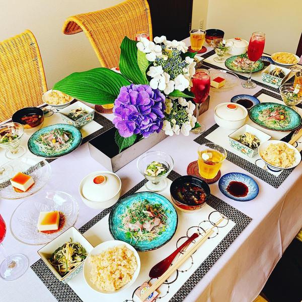 19年6月日本料理クラス会食風景です。