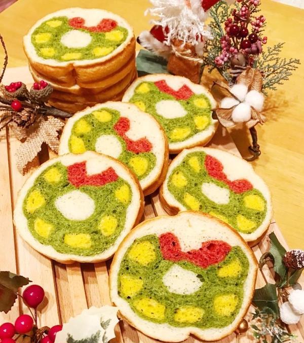 11月〜クリスマスリースのデコ食パン¥4500