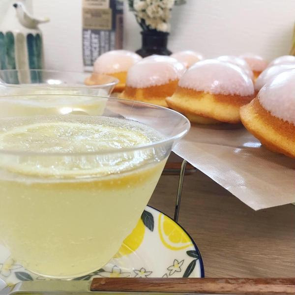 夏にぴったり♡レモンケーキとはちみつレモン炭酸ゼリー