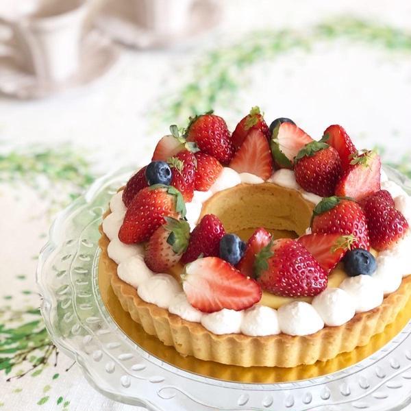 苺のリースタルト!春のお菓子クラスで人気のメニューです!